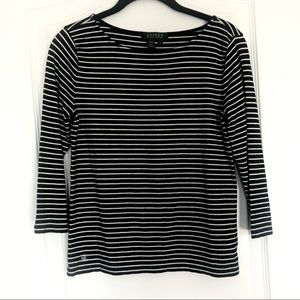 Ralph Lauren black and white striped top